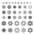 38 black ornate snowflakes isolated on white vector image vector image