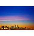 abstract sunrise background with panorama of city vector image vector image