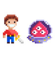 adversary knight and ufo pixel game hero vector image vector image