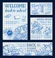 back to school ink pen sale sketch design vector image