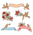 banners with flowers and birds vector image vector image