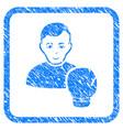 boxing sportsman framed stamp vector image vector image