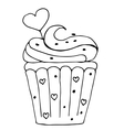 cake with heart cupcake drawn in outline isolated vector image