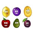 Cartoon apple plums melon lemon and avocado fruits vector image