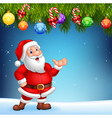 Cartoon Santa Claus waving hand with Christmas vector image vector image