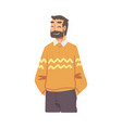 cheerful bearded young man wearing casual clothes vector image