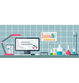 Chemical laboratory Workplace Flat design vector image vector image