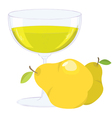 cup with bubbling lemonade and pears on white back vector image vector image
