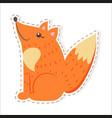 cute fox cartoon flat sticker or icon vector image