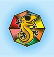 cute gecko or lizard character in eyeglasses vector image