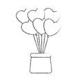 cute heart balloons vector image vector image