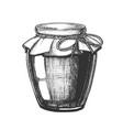 designed homemade jam glass bottle closeup vector image vector image