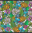 doodle floral pattern with mess of color flowers vector image vector image