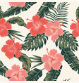 flowers hibiscus abstract color tropical leaves vector image vector image