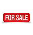 For sale red 3d square button isolated on white vector image vector image