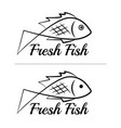 fresh fish logo symbol sign black colored set 2 vector image vector image