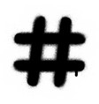 graffiti hashtag leaking in black over white vector image