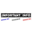 grunge important info scratched rectangle stamps vector image vector image