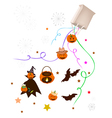Halloween Item and Evil Falling From Paper Bag vector image