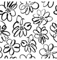hand drawn brush black flowers seamless pattern vector image vector image
