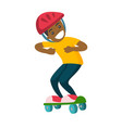 happy african-american boy riding a skateboard vector image