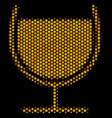 hexagon halftone wine glass icon vector image
