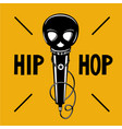 hip-hop party poster with microphone and skull vector image vector image