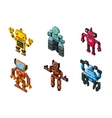 Isometric robot toys on white background vector image