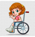 little girl on wheelchair vector image vector image