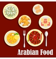 Middle eastern lunch with desserts flat icon vector image