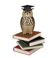 owl with graduation hat over books vector image vector image