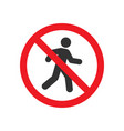 pedestrian prohibited sign vector image vector image