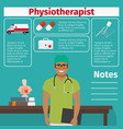 physiotherapist and medical equipment icons vector image