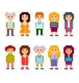 pixel art style cartoon characters vector image vector image