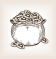 pot of coins engraving vector image vector image
