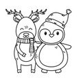 reindeer and penguin with hat celebration merry vector image vector image