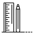 ruler pencil icon outline style vector image
