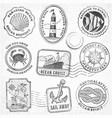 sea journey vintage stamps vector image vector image
