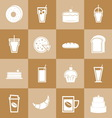 Set of bakery and drinks elements for coffee shop vector image