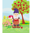 smiling gnome gardener in the orchard vector image