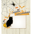 Spider owl and paper sheet vector image vector image