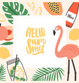 square seasonal card template with hello summer vector image