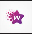 stars pixel for technology symbol letter w design vector image vector image