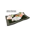 sushi set hand draw sketch vector image vector image