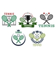 Tennis sport symbols and emblems vector image vector image