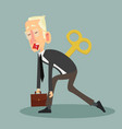 tired businessman with clockwork key vector image