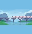 train on bridge mountain landscape with speed vector image