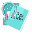 two sketchbook notebooks and headphones vector image vector image