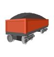 Wagon with coal cartoon icon vector image vector image