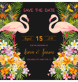 Wedding Card Tropical Flowers Flamingo vector image vector image